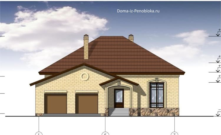 Проект одноэтажного дома 14x15 с гаражом (200 кв. м